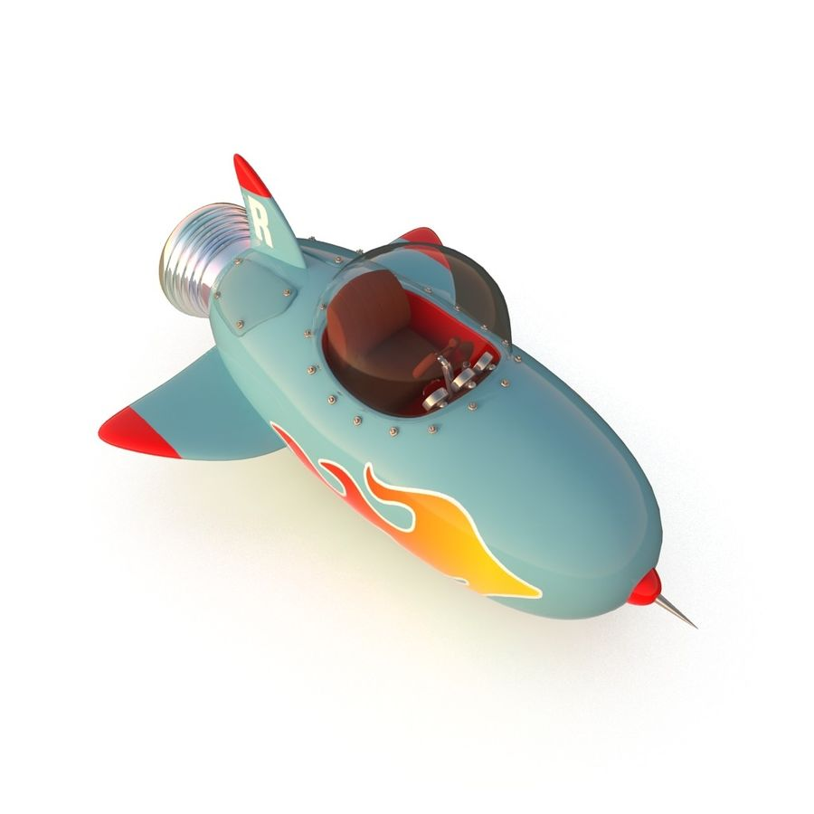 Cartoon Space Rocket ship royalty-free 3d model - Preview no. 34