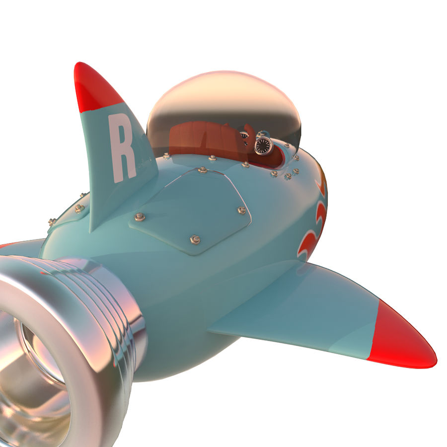 Cartoon Space Rocket ship royalty-free 3d model - Preview no. 21