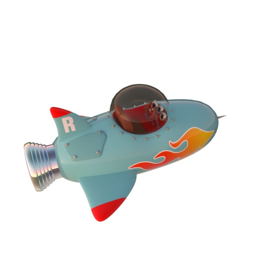 Cartoon Space Rocket ship royalty-free 3d model - Preview no. 8