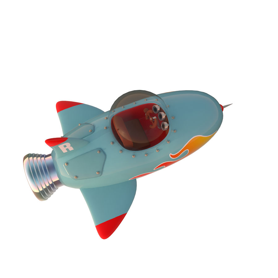 Cartoon Space Rocket ship royalty-free 3d model - Preview no. 4