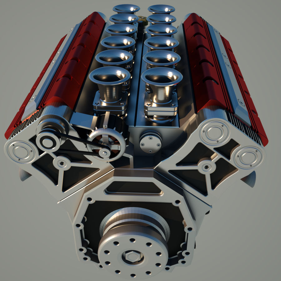 V12 Engine royalty-free 3d model - Preview no. 5