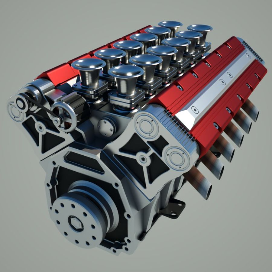 V12 Engine royalty-free 3d model - Preview no. 1
