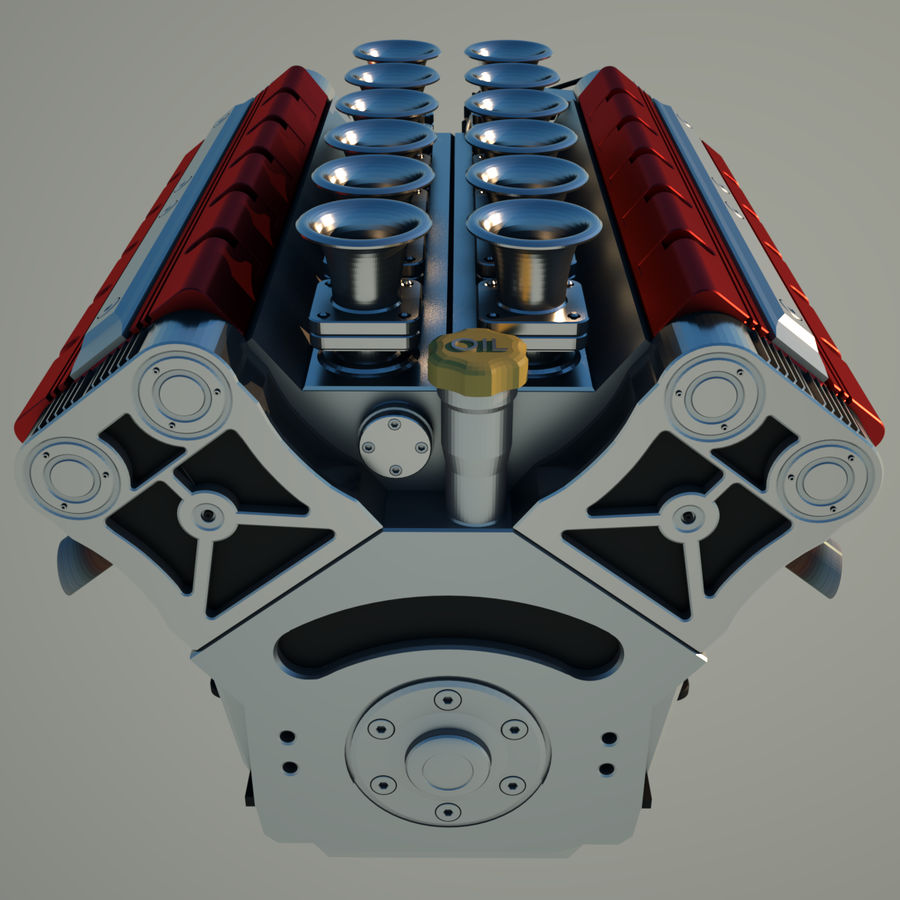 V12 Engine royalty-free 3d model - Preview no. 7