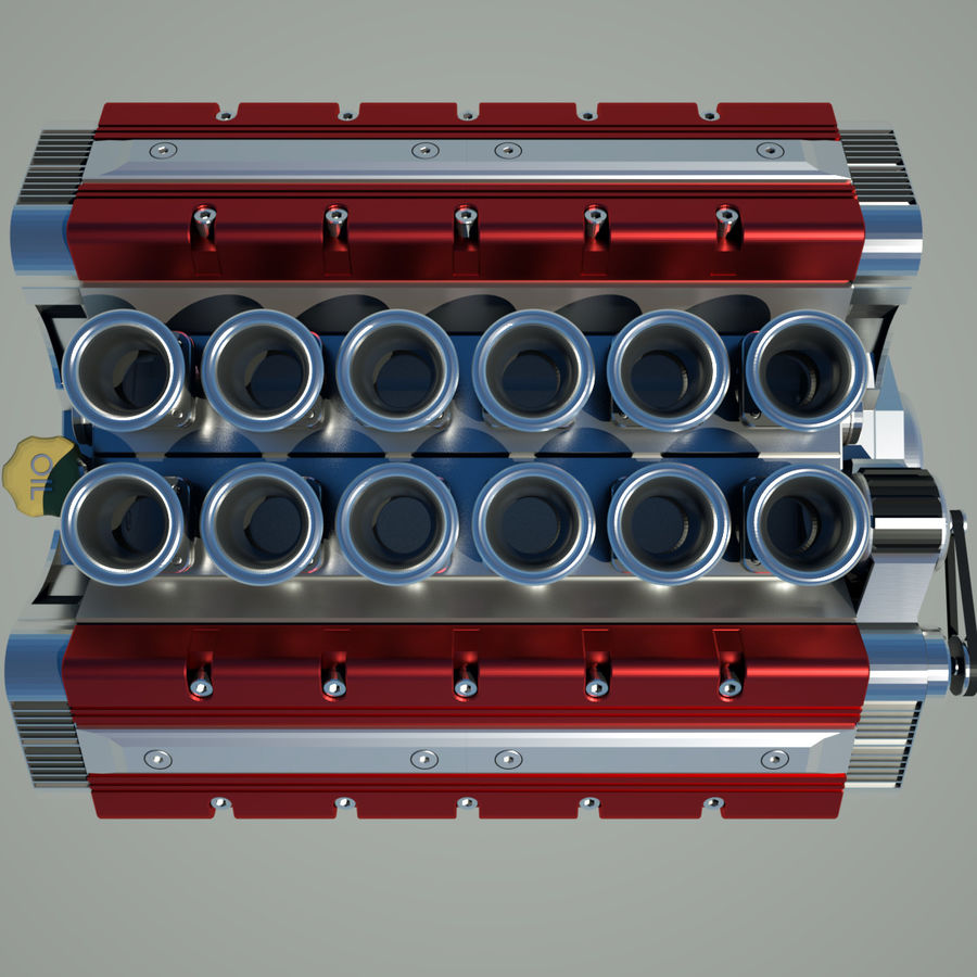 V12 Engine royalty-free 3d model - Preview no. 10