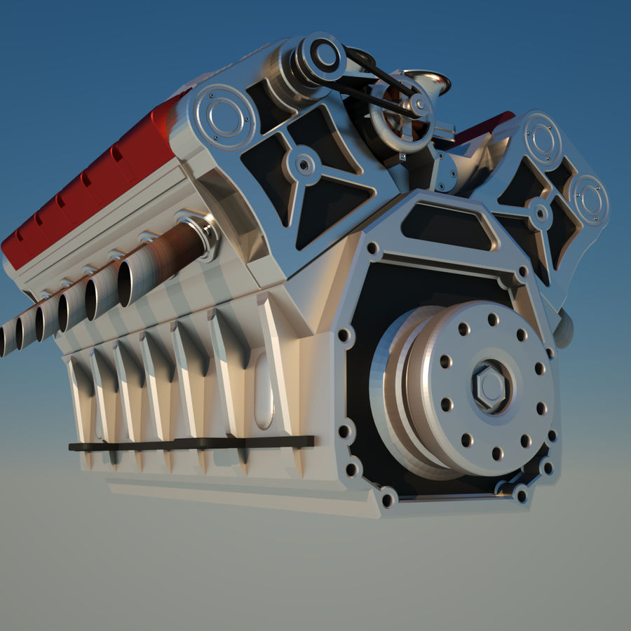 V12 Engine royalty-free 3d model - Preview no. 3