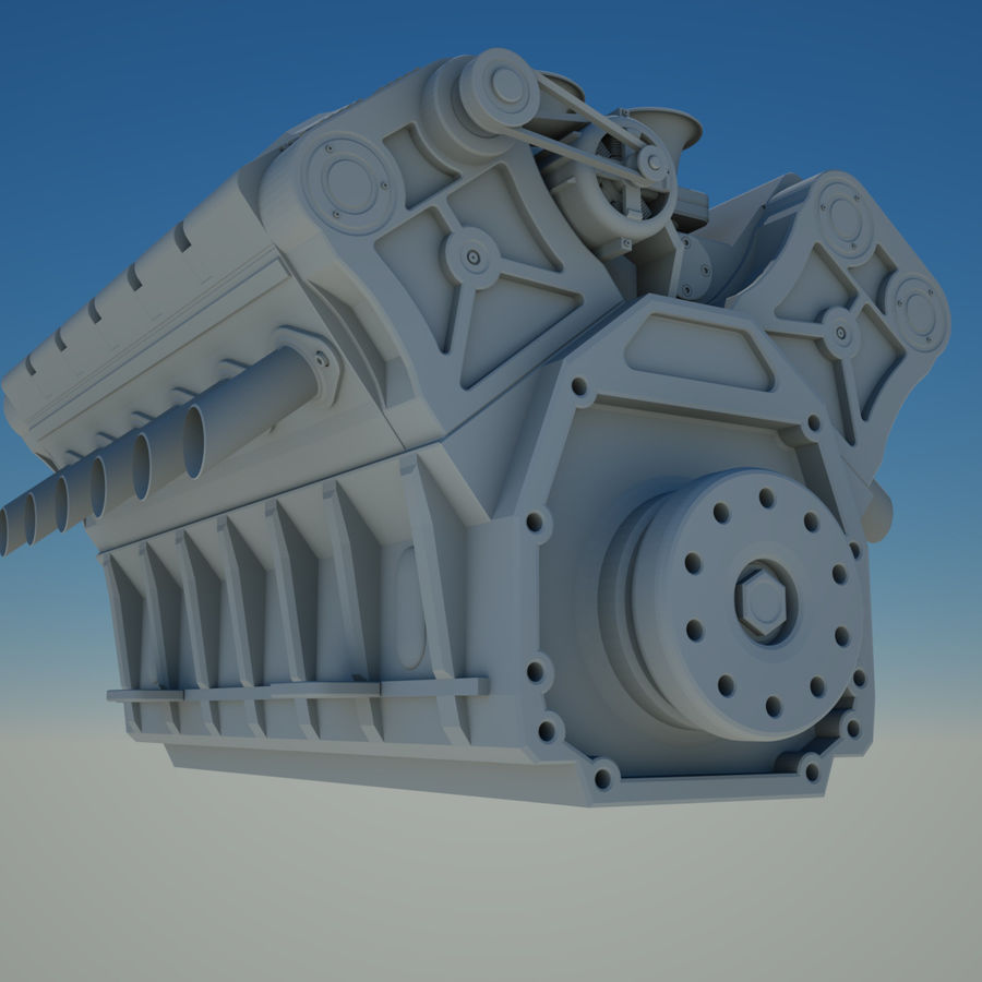 V12 Engine royalty-free 3d model - Preview no. 4