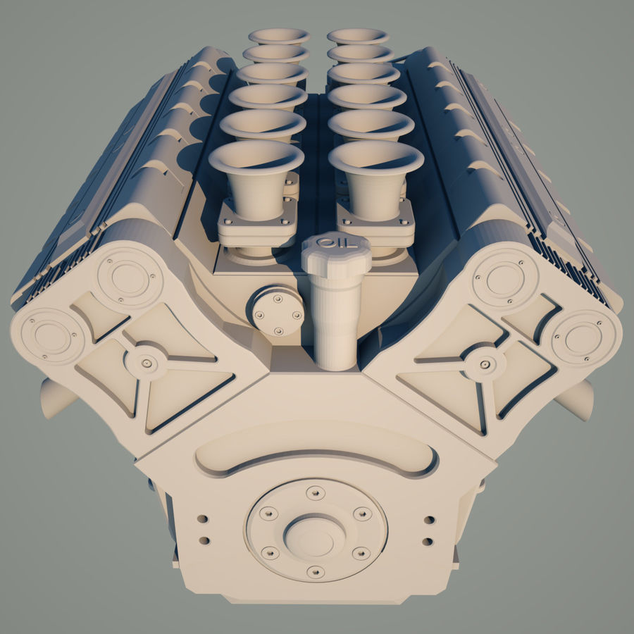 V12 Engine royalty-free 3d model - Preview no. 8