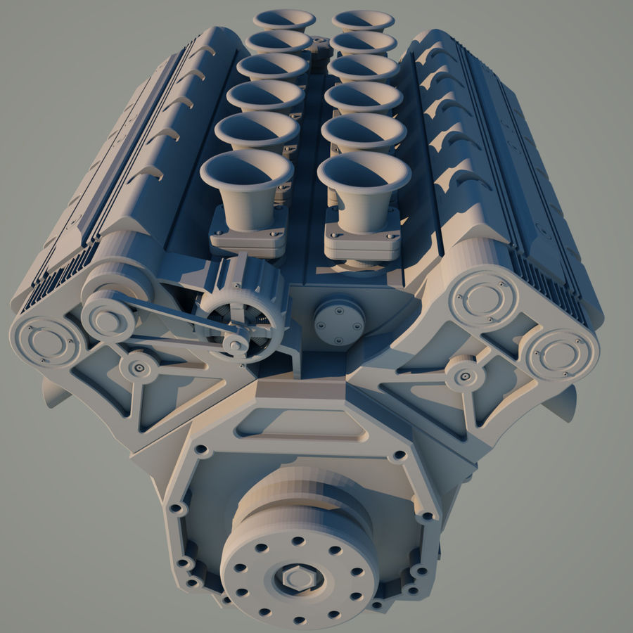 V12 Engine royalty-free 3d model - Preview no. 6