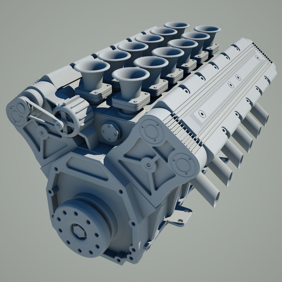 V12 Engine royalty-free 3d model - Preview no. 2
