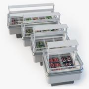 Store fridge island set 3d model