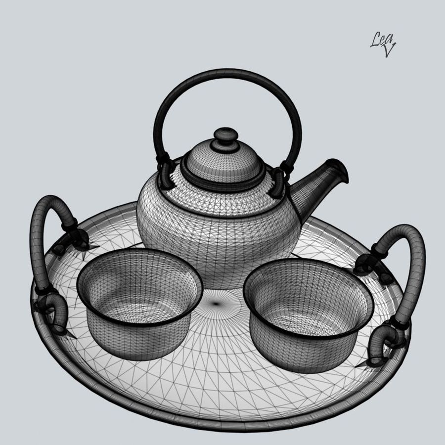 Ceramic set royalty-free 3d model - Preview no. 6