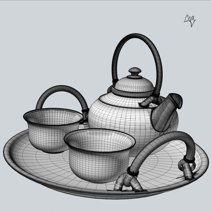 Ceramic set royalty-free 3d model - Preview no. 8