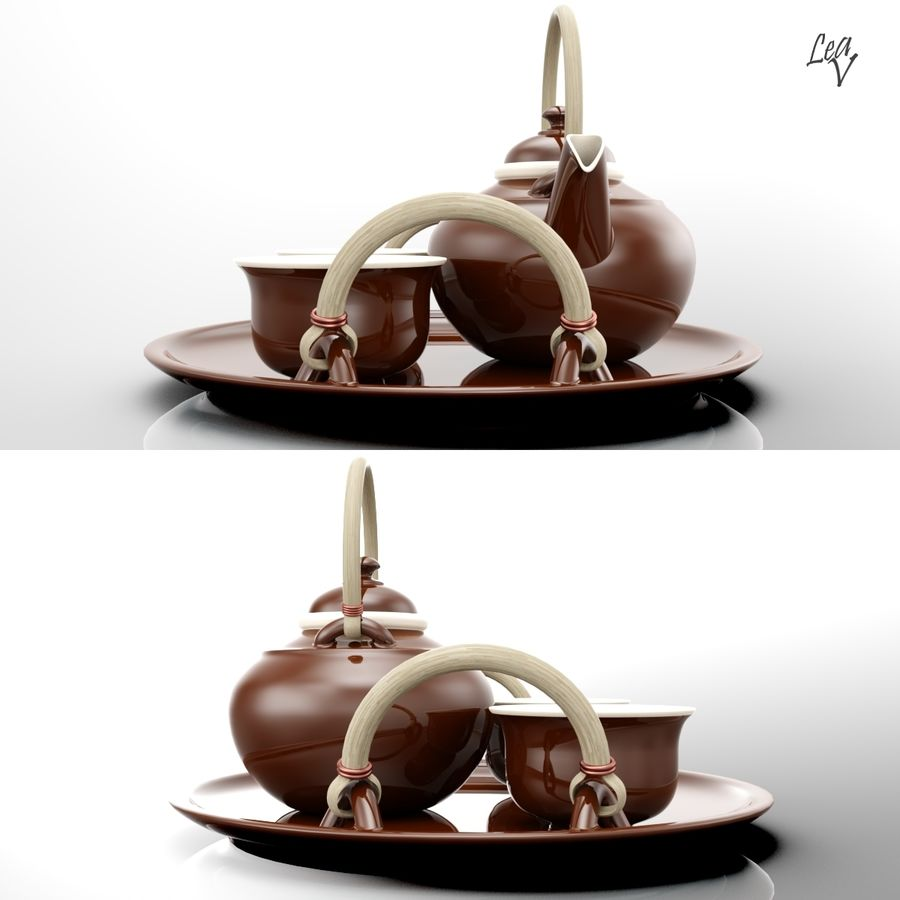 Ceramic set royalty-free 3d model - Preview no. 3