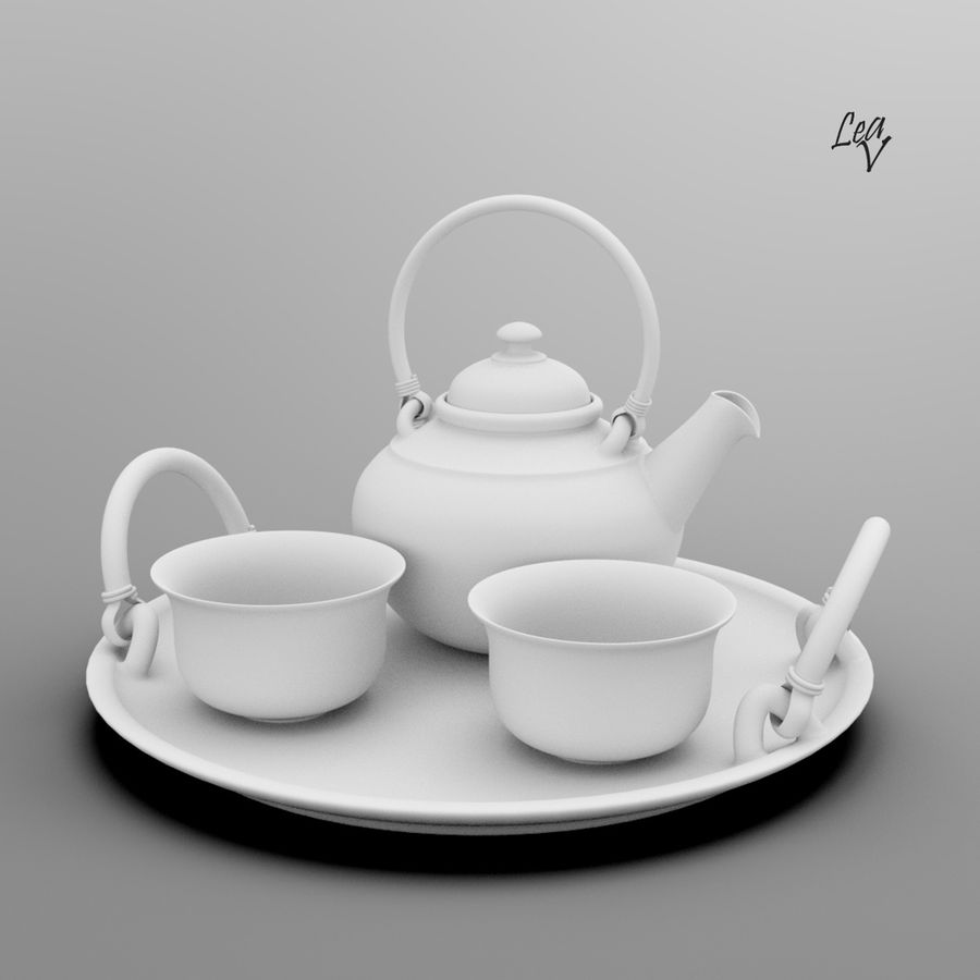 Ceramic set royalty-free 3d model - Preview no. 7