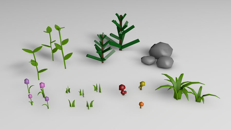 Plants (Low Poly) royalty-free 3d model - Preview no. 1