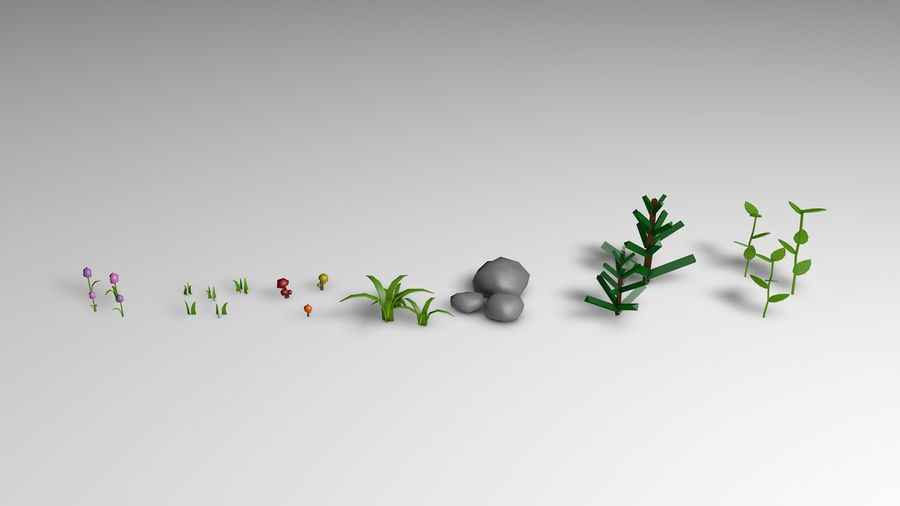 Planten (laag poly) royalty-free 3d model - Preview no. 2