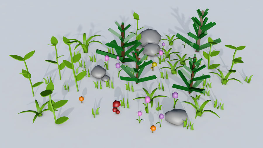 Plants (Low Poly) royalty-free 3d model - Preview no. 10
