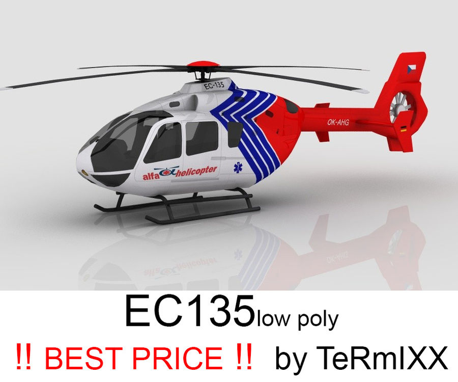 EC-135 Alfa Helikopteri royalty-free 3d model - Preview no. 1