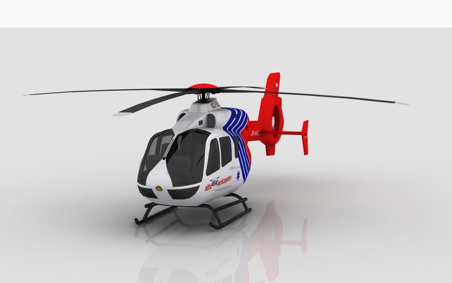 EC-135 Alfa Helikopteri royalty-free 3d model - Preview no. 3