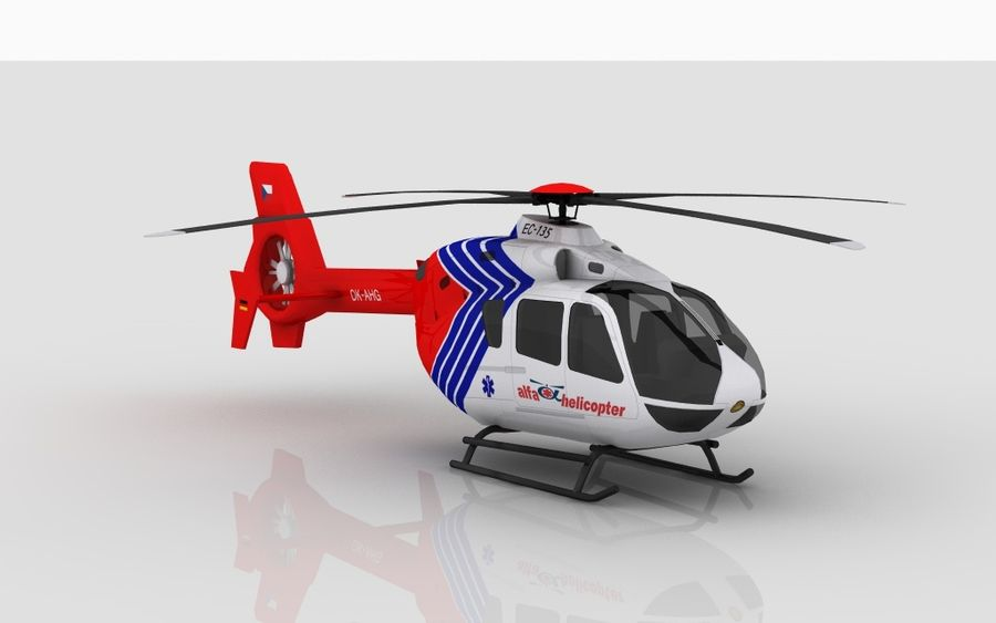 EC-135 Alfa Helikopteri royalty-free 3d model - Preview no. 4