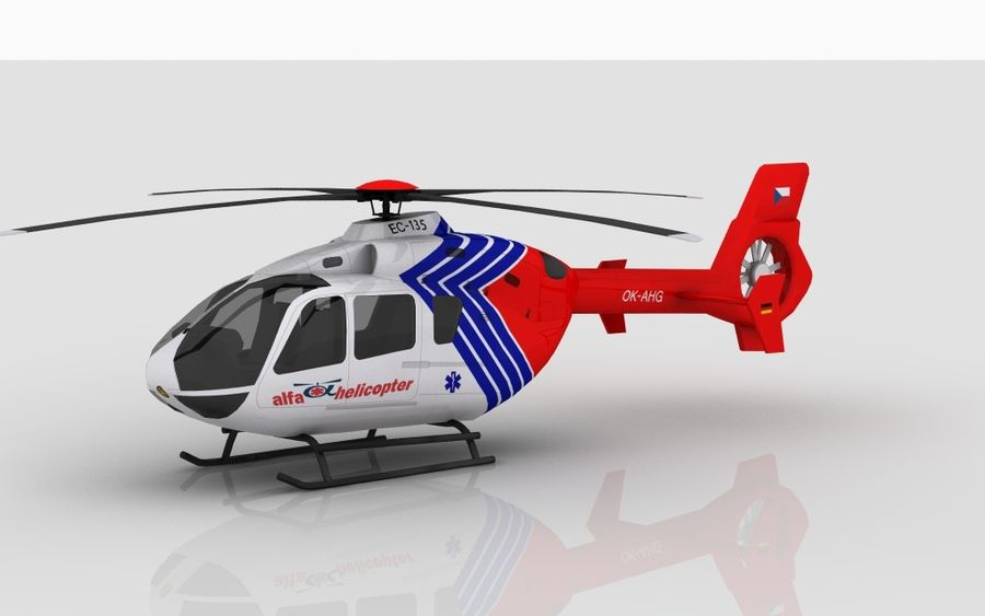 EC-135 Alfa Helikopteri royalty-free 3d model - Preview no. 2
