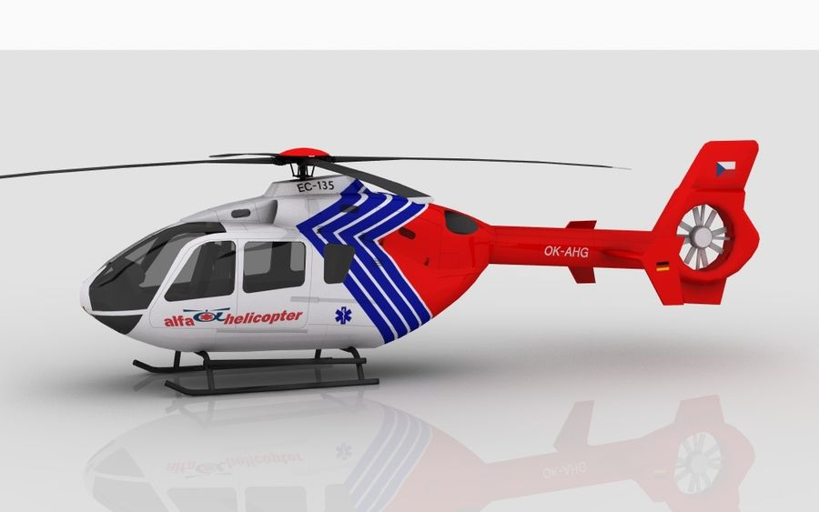 EC-135 Alfa Helikopteri royalty-free 3d model - Preview no. 9