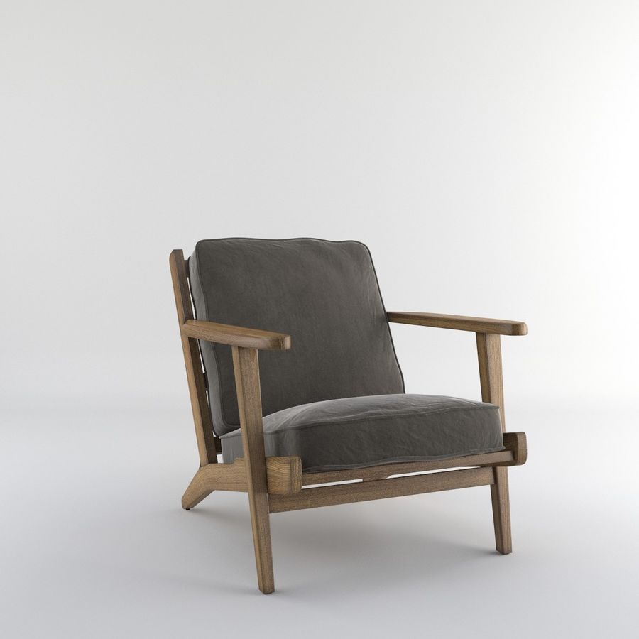 Brooks Lounge Chair (Arm chair) royalty-free 3d model - Preview no. 10