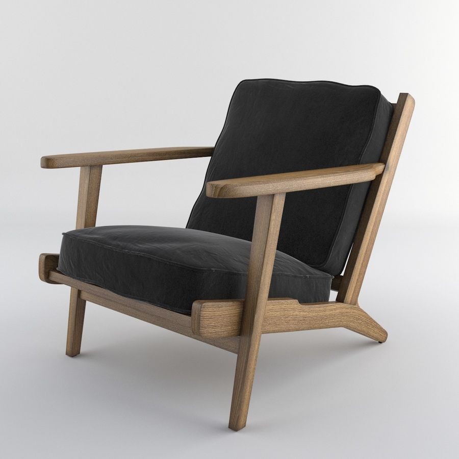 Brooks Lounge Chair (Arm chair) royalty-free 3d model - Preview no. 2