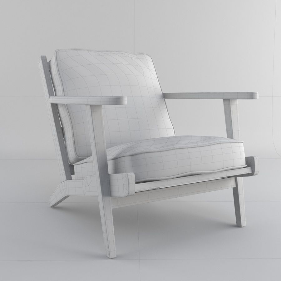 Brooks Lounge Chair (Arm chair) royalty-free 3d model - Preview no. 27