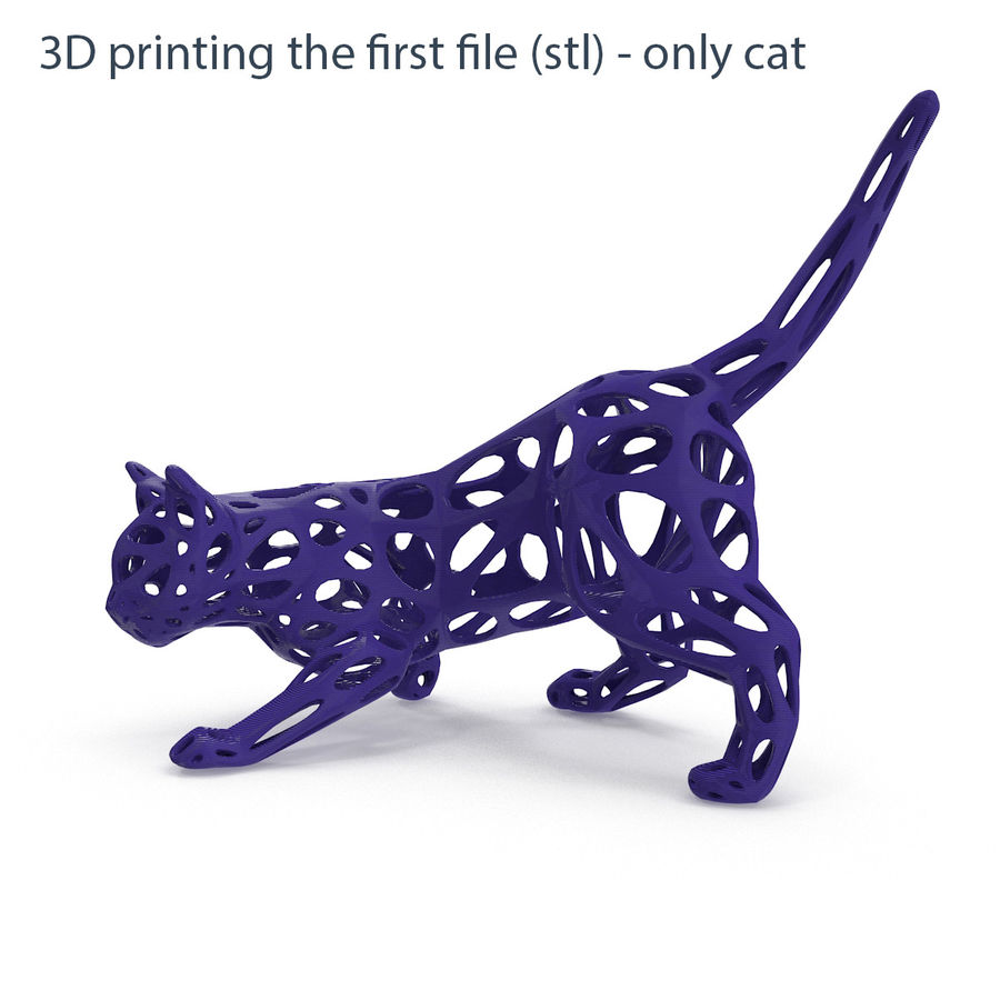 Hunting Cat 3D Printable royalty-free 3d model - Preview no. 4