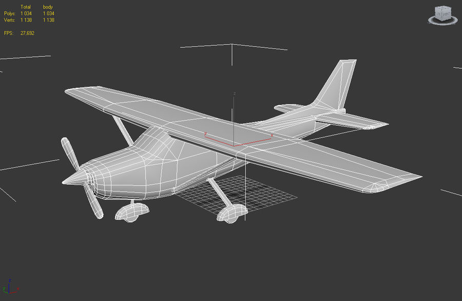 Cessna 172 Low Poly royalty-free 3d model - Preview no. 5