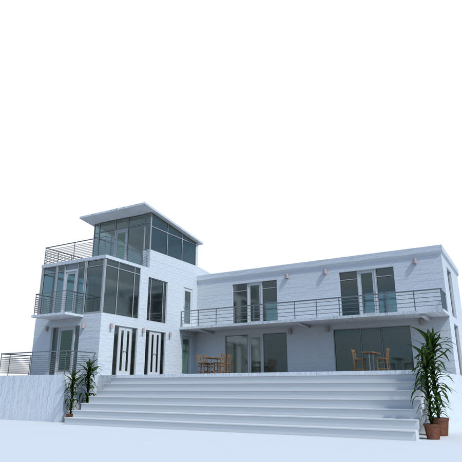 Modern glass house exterior royalty free 3d model preview no 1