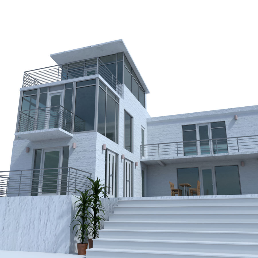 Modern Exterior Of Home With Pathway Transom Window: Modern Glass House Exterior 3D Model $34