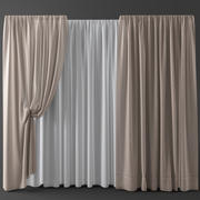 Curtains+tulle(blinds)002 3d model