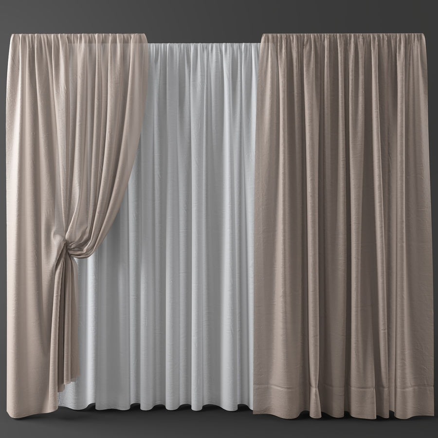 Curtains+tulle(blinds)002 royalty-free 3d model - Preview no. 1