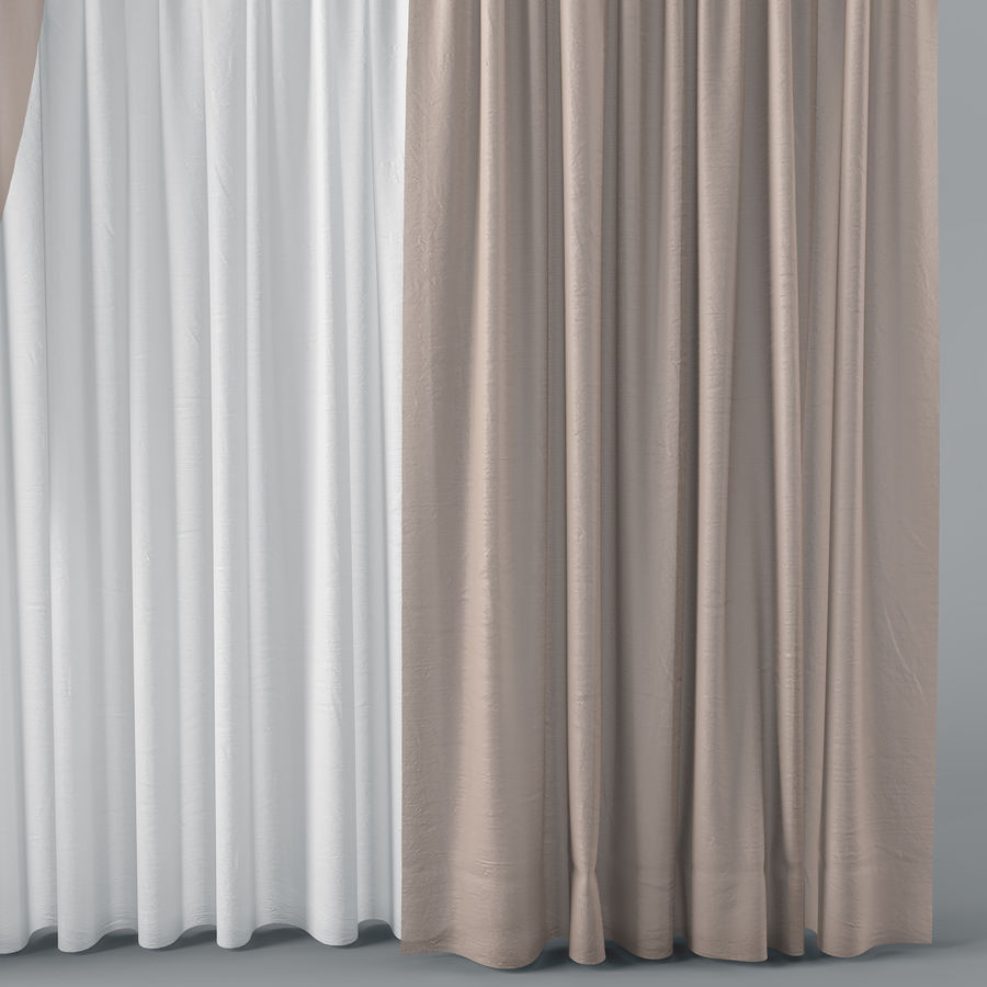 Curtains+tulle(blinds)002 royalty-free 3d model - Preview no. 5
