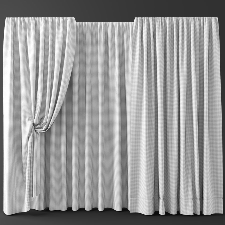 Curtains+tulle(blinds)002 royalty-free 3d model - Preview no. 2