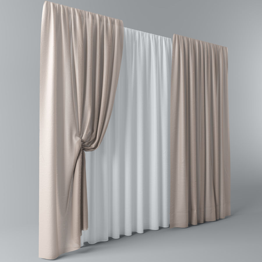 Curtains+tulle(blinds)002 royalty-free 3d model - Preview no. 4