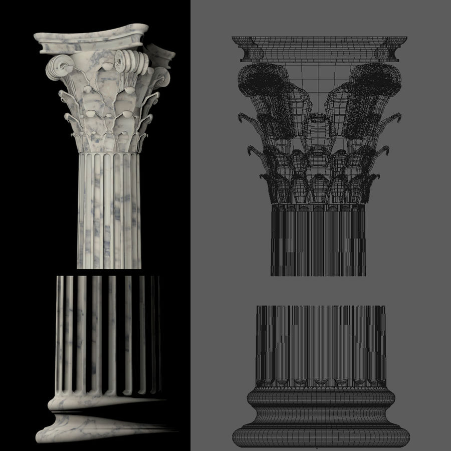Greek Column Collection royalty-free 3d model - Preview no. 14
