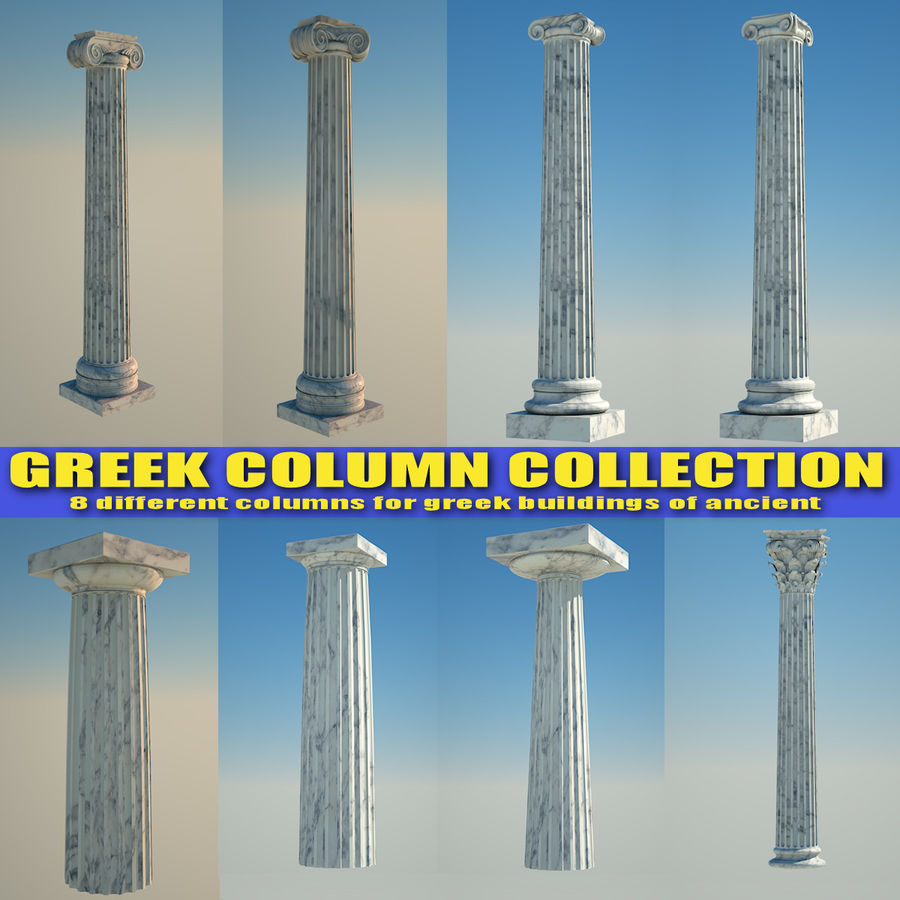 Greek Column Collection royalty-free 3d model - Preview no. 1