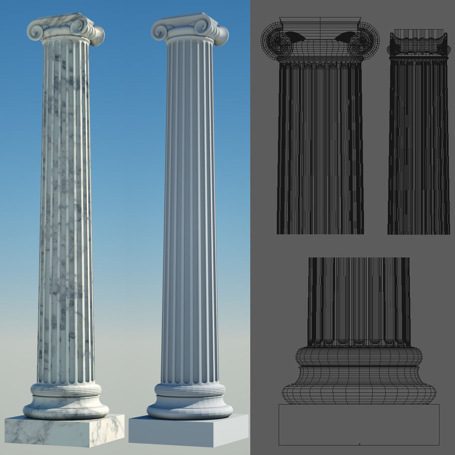 Greek Column Collection royalty-free 3d model - Preview no. 7