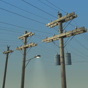 Electric Pole Wooden COLLECTION 3d model