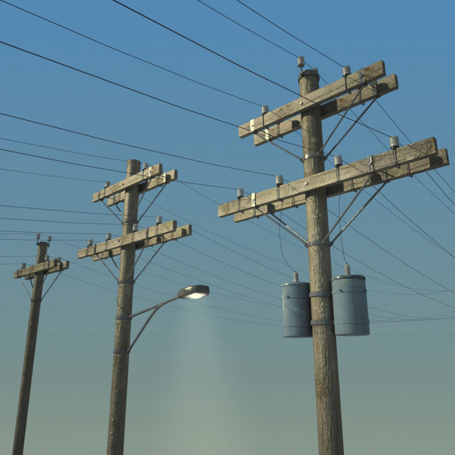Electric Pole Wooden COLLECTION royalty-free 3d model - Preview no. 1