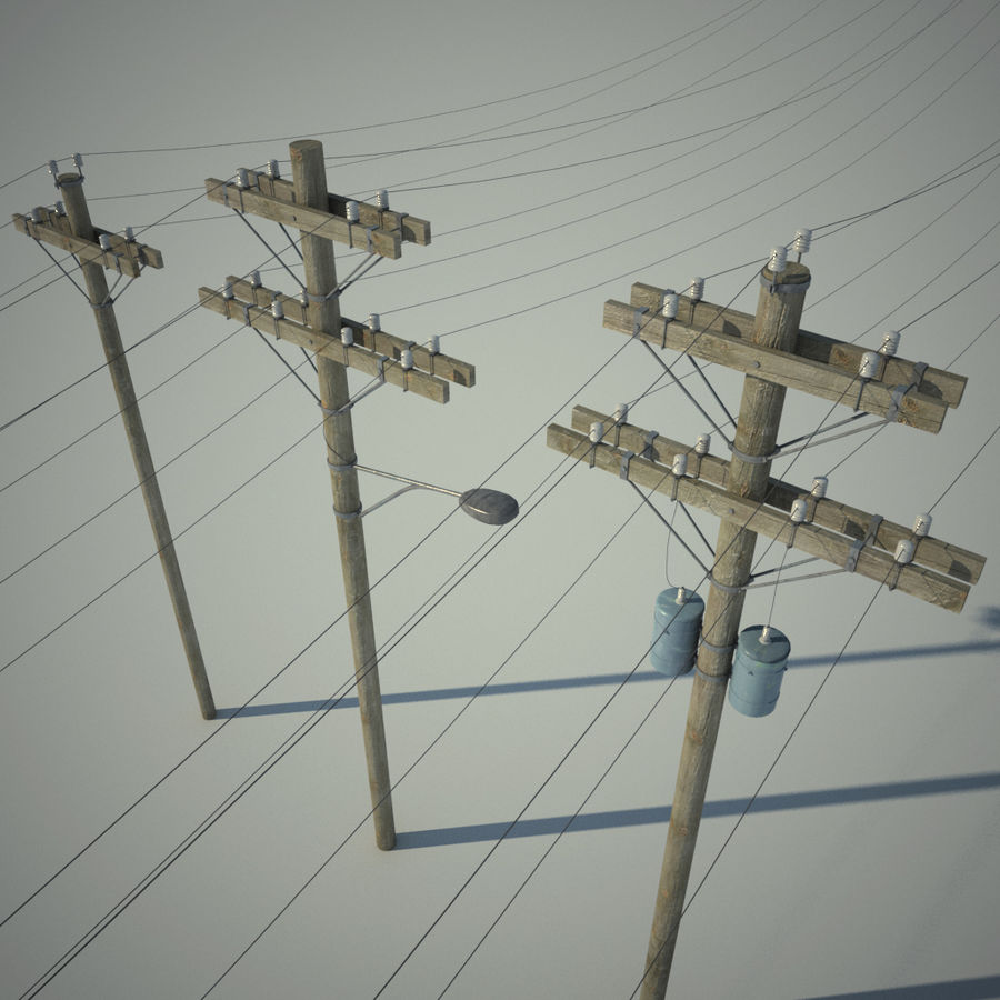 Electric Pole Wooden COLLECTION royalty-free 3d model - Preview no. 2
