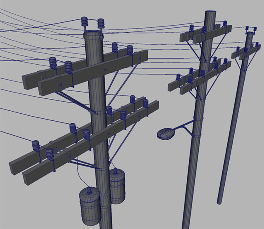 Electric Pole Wooden COLLECTION royalty-free 3d model - Preview no. 4