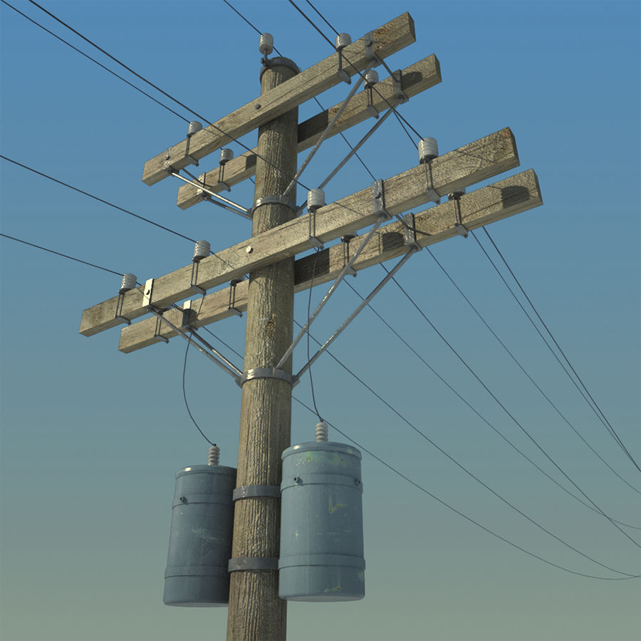 Electric Pole Wooden COLLECTION royalty-free 3d model - Preview no. 3