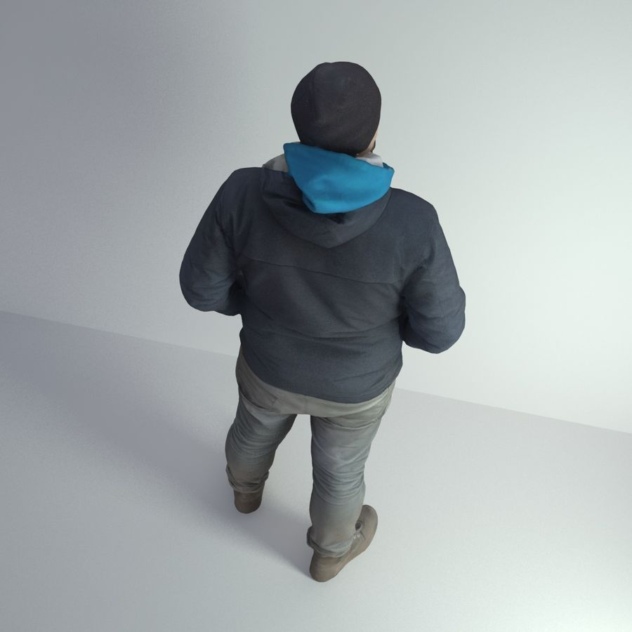 3D Scan Man Winter 001 royalty-free 3d model - Preview no. 7