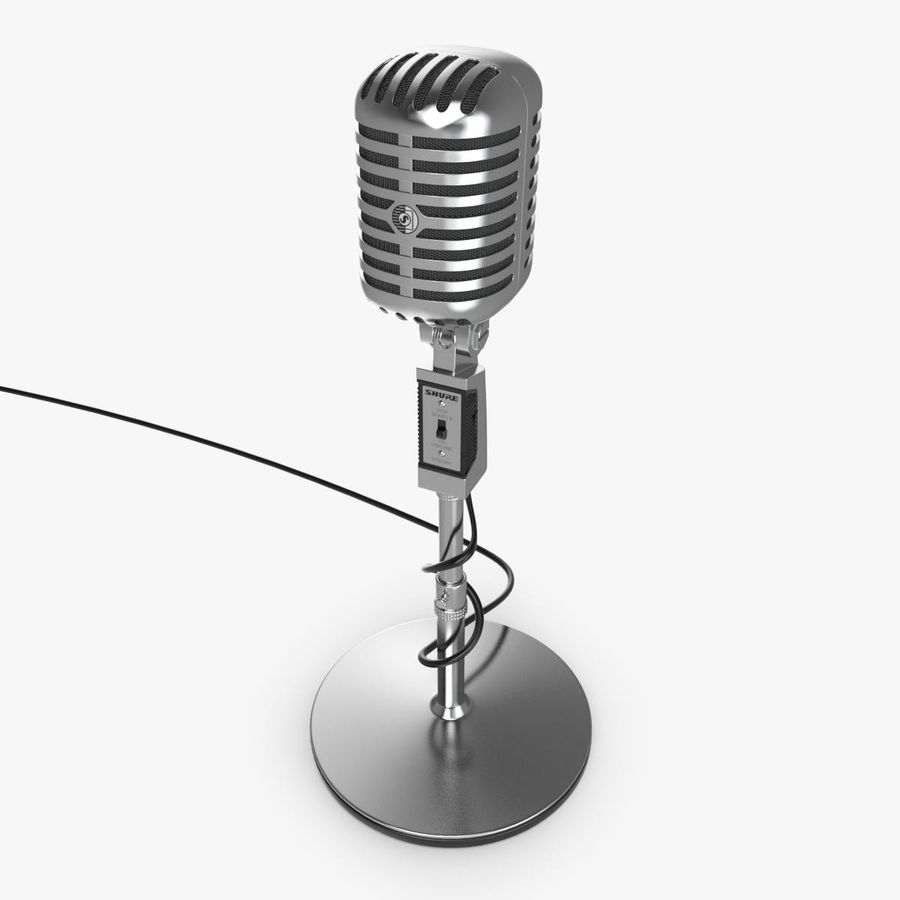 Retro microphone royalty-free 3d model - Preview no. 3