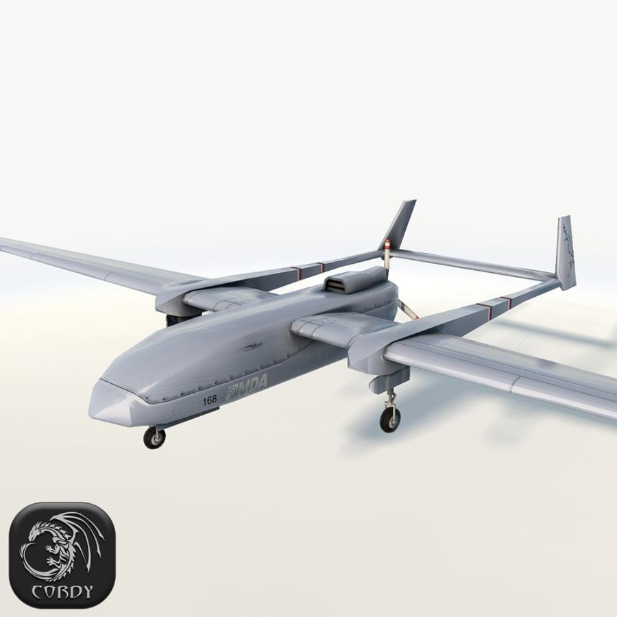 Fighter drone Heron-1 MDA royalty-free 3d model - Preview no. 1