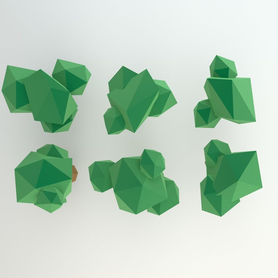 Low Poly Cartoon Trees en forest pack # 4 (groen en roze) royalty-free 3d model - Preview no. 4